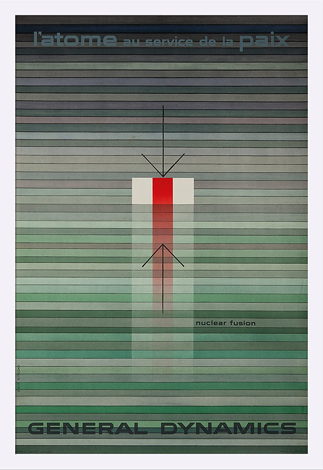 General Dynamics – Nuclear Fusionヴィンテージポスター(アーティスト: Nitsche )スイスC。1956 24 x 36 Framed Giclee (White) LANT-3P-FP-WHT-60425-24x36 24 x 36 Framed Giclee (White)  B019ID820Y