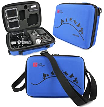 DURAGADGET Limited Edition Blue Travel Armoured Protective Shell Storage Case With Shock Absorbing Foam & Carry Handle Designed For GoPro Action Cams ...