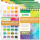 Watercolor Paint Set - 36 Premium Paints - 12 Page Pad - 6 Brushes - Painting Supplies with Palette, Watercolors, Art…