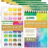 Watercolor Paint Set - 36 Premium Paints - 12 Page Pad - 6 Brushes - Painting Supplies with Palette, Watercolors, Art…