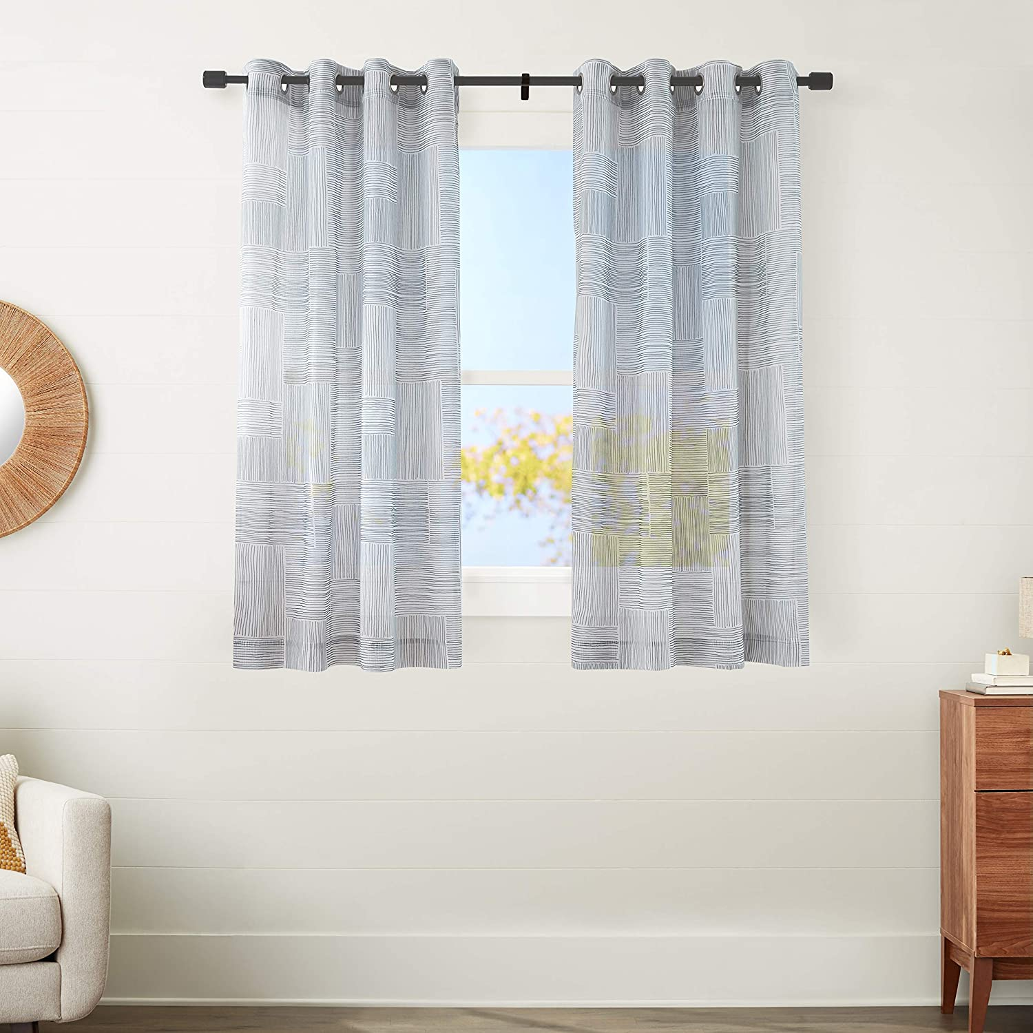 """AmazonBasics Sheer Window Panel Pair with Grommets - 50"""" x 63"""", Painterly Grid Grey and White"""