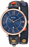 Fossil Women's ES4102 Jacqueline Three-Hand Date Blue Leather Watch