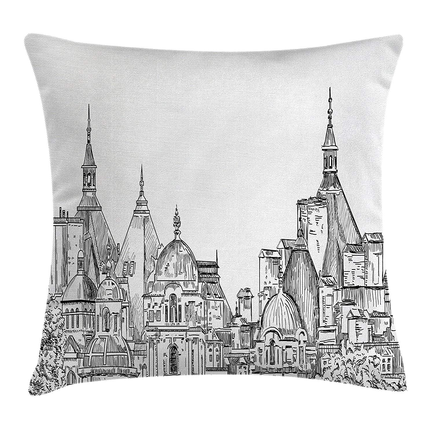 Modern Decor Throw Pillow Cushion Cover, European City Landscape Sketchy Artistic Painting Landsmarks Image, Decorative Square Accent Pillow Case, 18 X 18 inches, Black White WCMBY