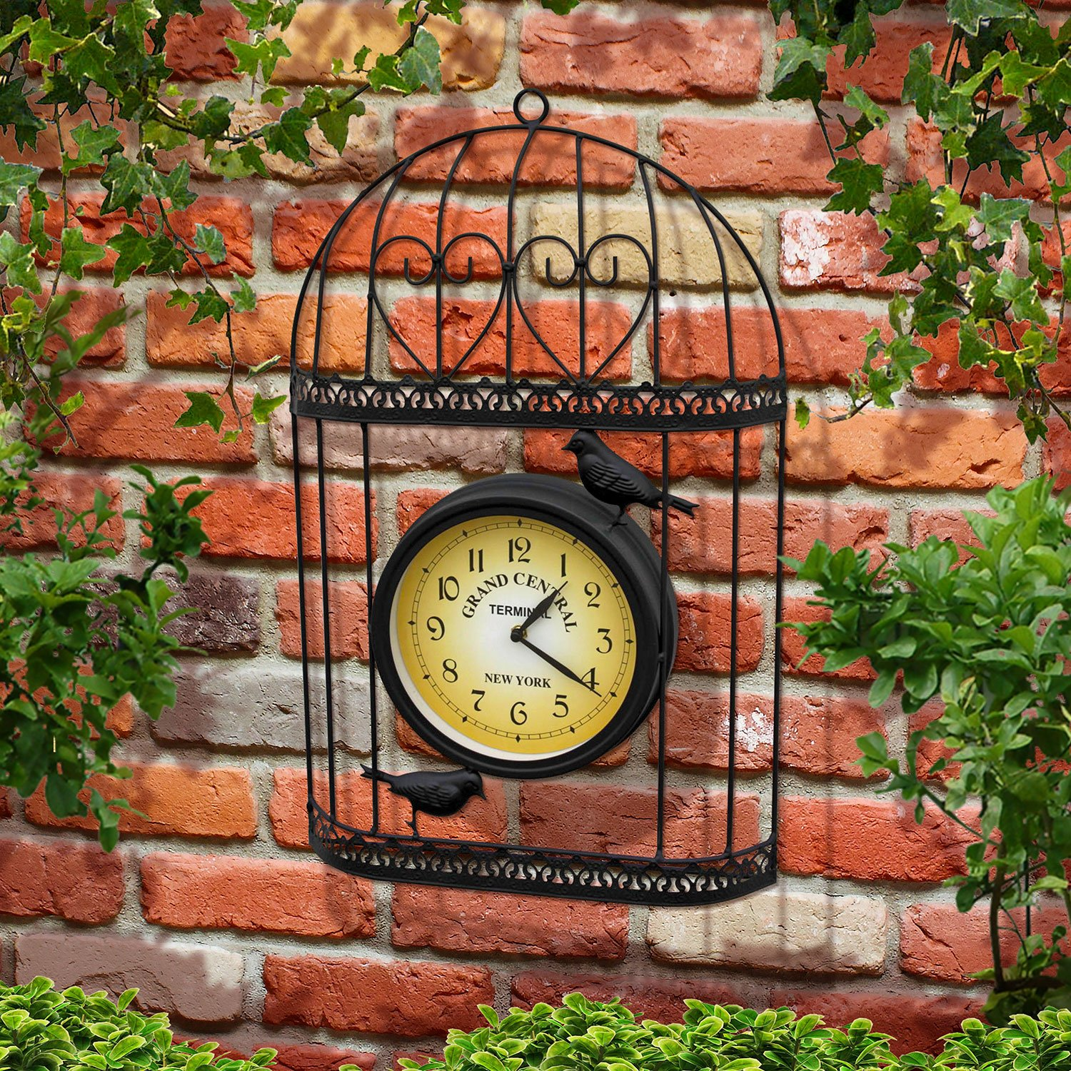 Parkland Shabby Chic Style Birdcage Garden Clock - Wall Mountable Black Metal Bird Cage With Vintage Victorian Station Effect Clock Face - Ideal For Indoor And Outdoor Use