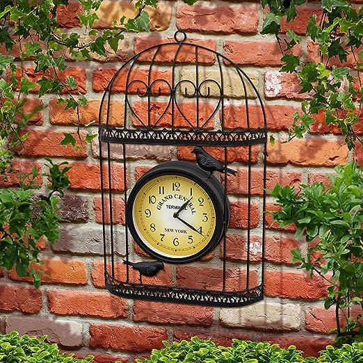 Parkland Reloj de jardín estilo shabby chic con diseño de jaula de ...
