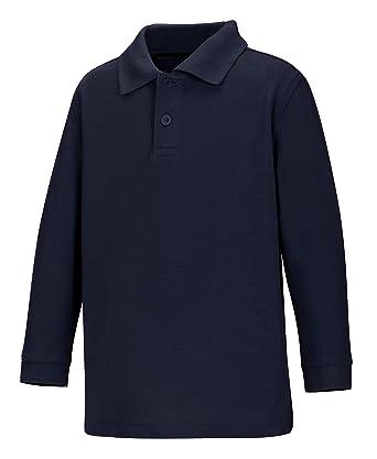 28e34d37 CLASSROOM Little Boys' Toddler Uniform Long Sleeve Pique Polo, Navy Blue,  ...