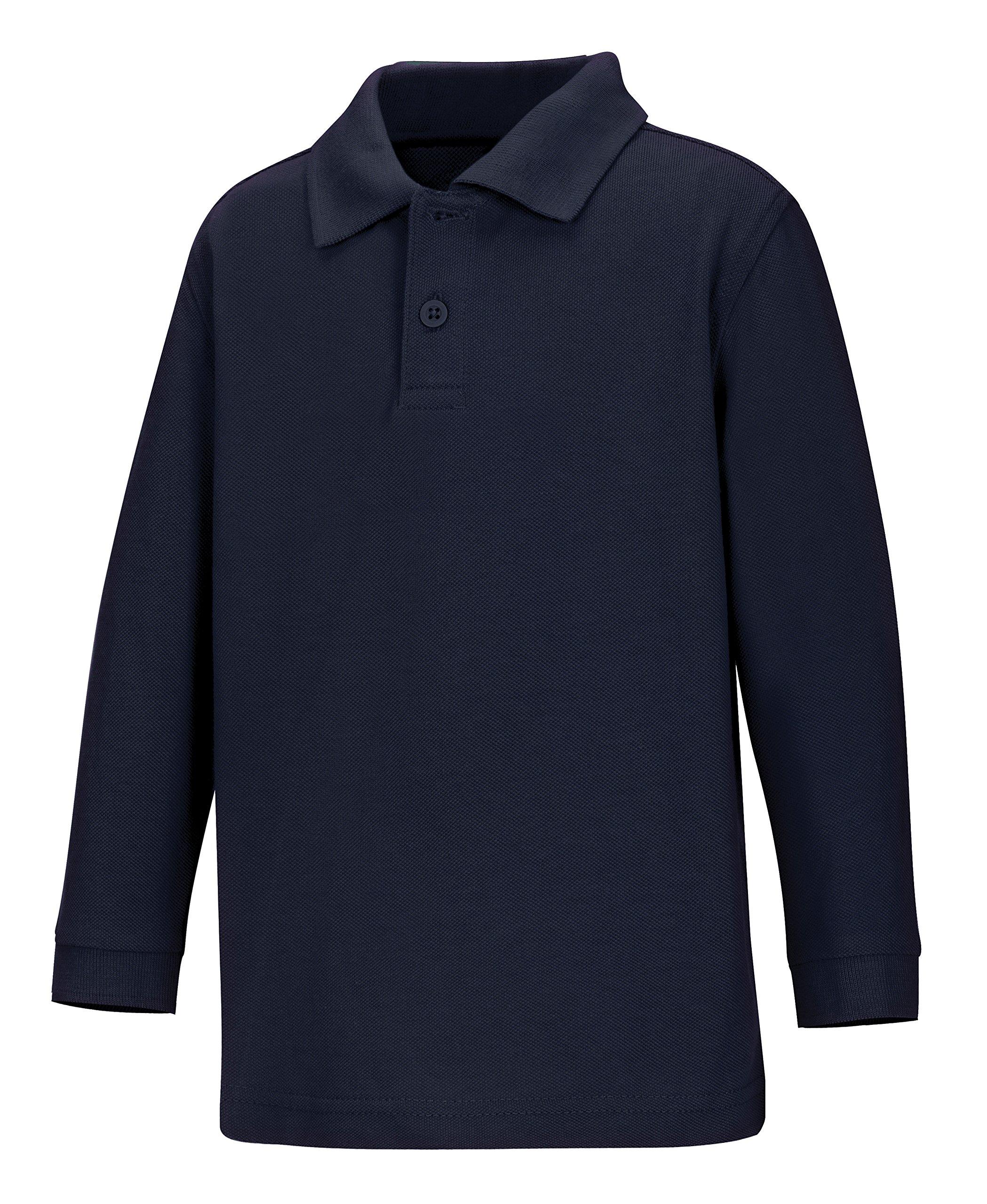CLASSROOM Little Boys' Toddler Uniform Long Sleeve Pique Polo, Navy Blue, 3T