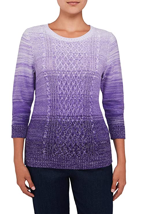 d89b820a46db Petite Ombre Cable Knit 3 4 Sleeve Crew Neck Sweater PrplOmbre PS ...