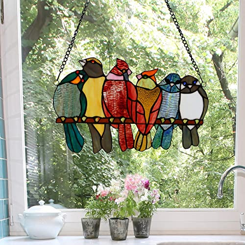 River of Goods Bird Lover 9.5 Inch High Stained Glass Window Panel Suncatcher, Red, Orange, Blue