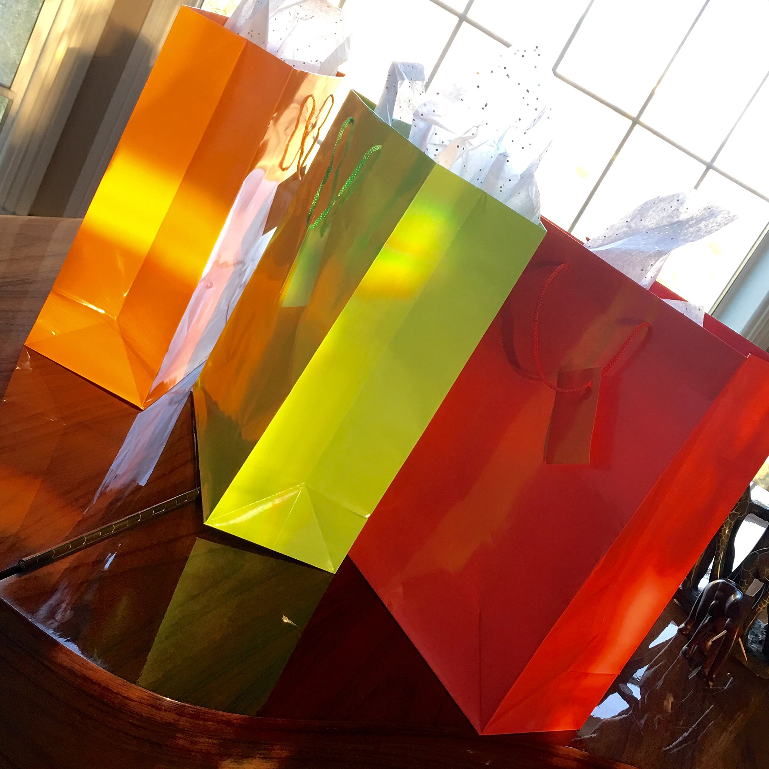 Adorox 12 Assorted (13'' h x 10'' w x 4 1/2'' d) Bright Neon Colored Party Present Paper Gift Bags Birthday Wedding All Occasion