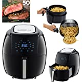 GoWISE USA 5.8-Quart Programmable 8-in-1 Air Fryer XL + 50 Recipes for your Air Fryer Book, Black