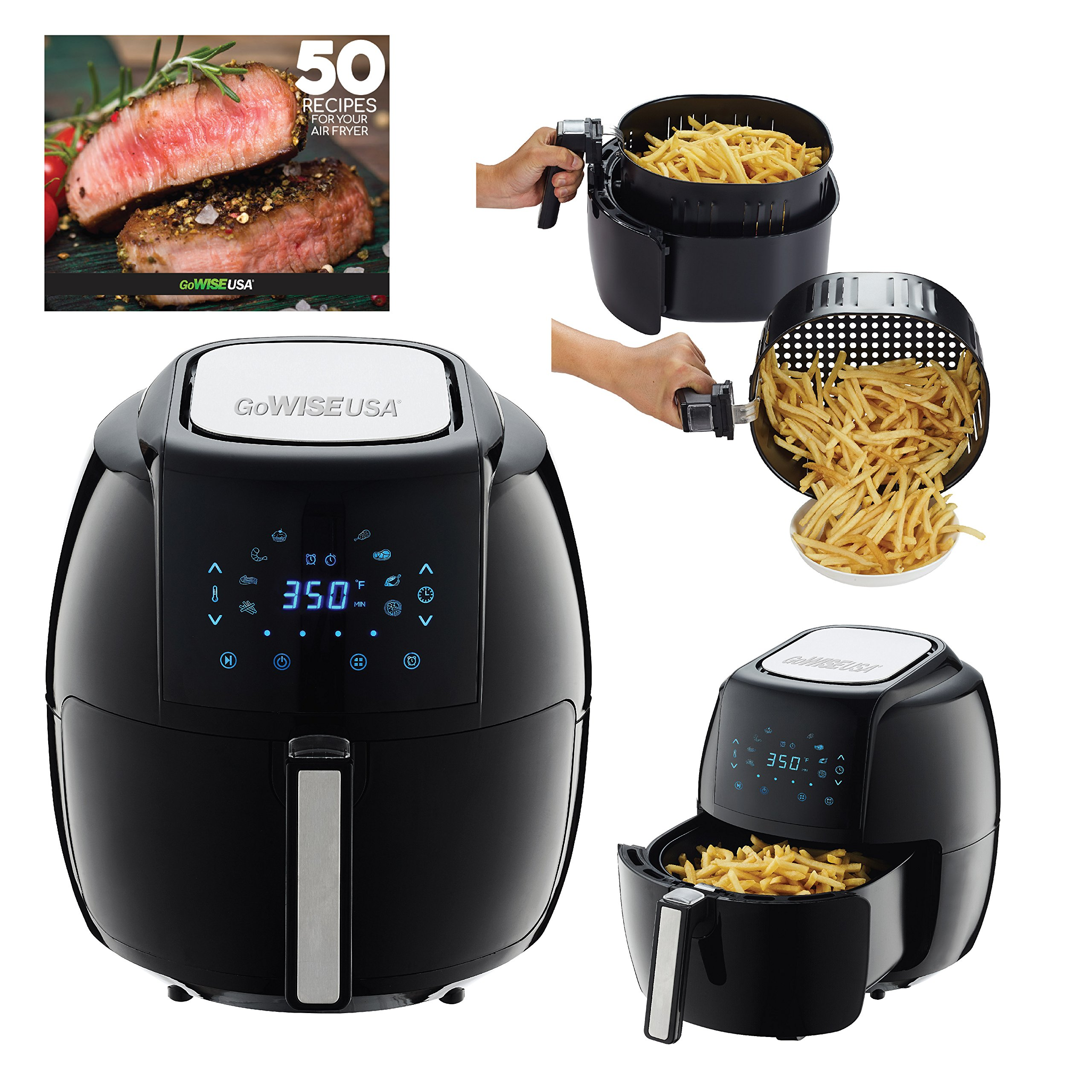 Air Fryer Black Friday deals -  GoWISE USA  1700-Watt 5.8-QT 8-in-1 Digital Air Fryer and 50 Recipes for your Air Fryer Book (Black)
