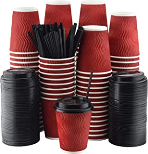 NYHI Set of 100 Red Disposable Paper Cups with Black Lids and Straws (8-oz) | Ripple Insulated Kraft for Hot Drinks - Tea & Coffee | Triple Layer Design | Eco- Friendly, Recyclable, Durable Paper