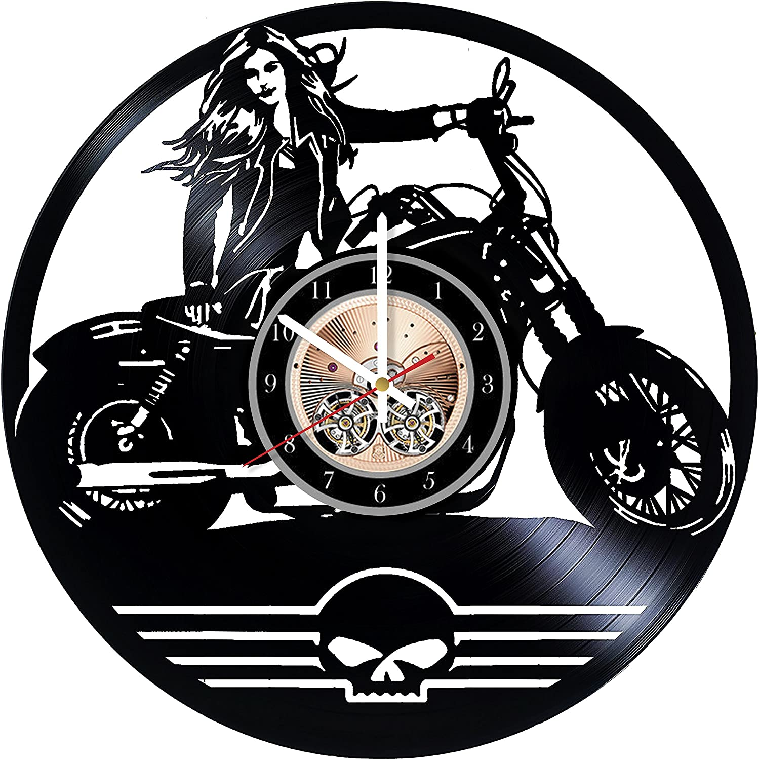 Amazon Com Motorcycle Club Design Art Vinyl Record Wall Clock 12 Really The Most Original Gift For Him And Her Perfect Element Of The Interior And Amazing Home Decor Idea Home