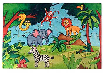 RK Cart Jungle Theme Puzzles for Kids, 24 Piece Wooden Jigsaw Fun Learning and Education Toys
