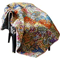RAJRANG Multicolor Patchwork Quilt Vintage Indian Reversible Quilted Throw Blanket Super Soft and Warm Living Room Decorative for Sofa and Couch