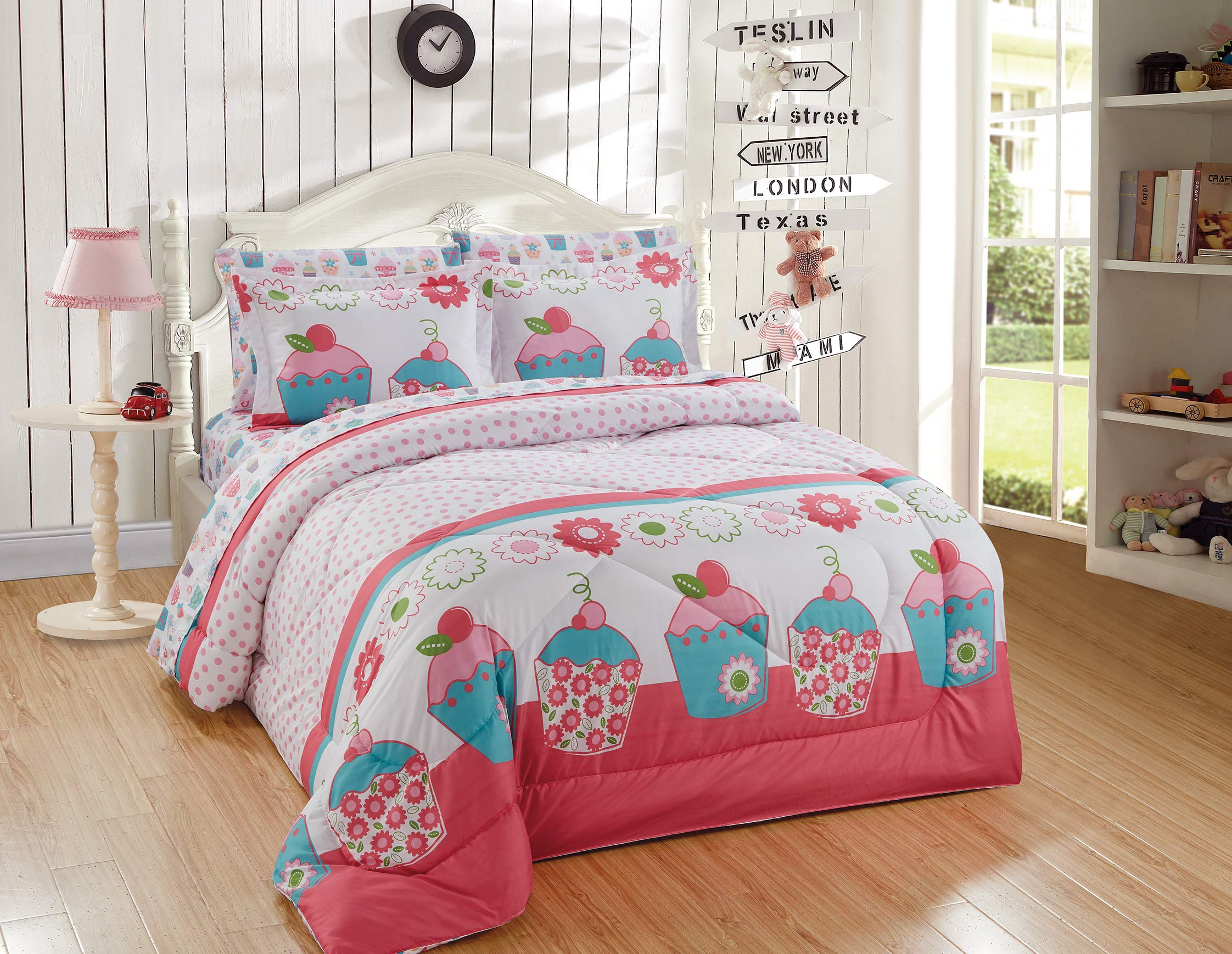 Better Home Style Multicolor Pink Turquoise Green Floral Cupcakes Printed Fun Design 5 Piece Comforter Bedding Set for Girls/Kids Bed in a Bag with Sheet Set # Turquoise Cupcake (Twin) by Better Home Style