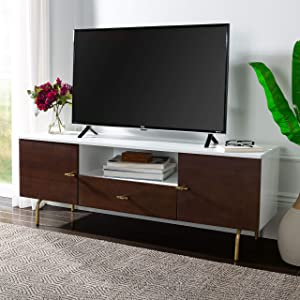 Safavieh Home Genevieve Mid-Century Modern Walnut and White Storage TV Media Stand
