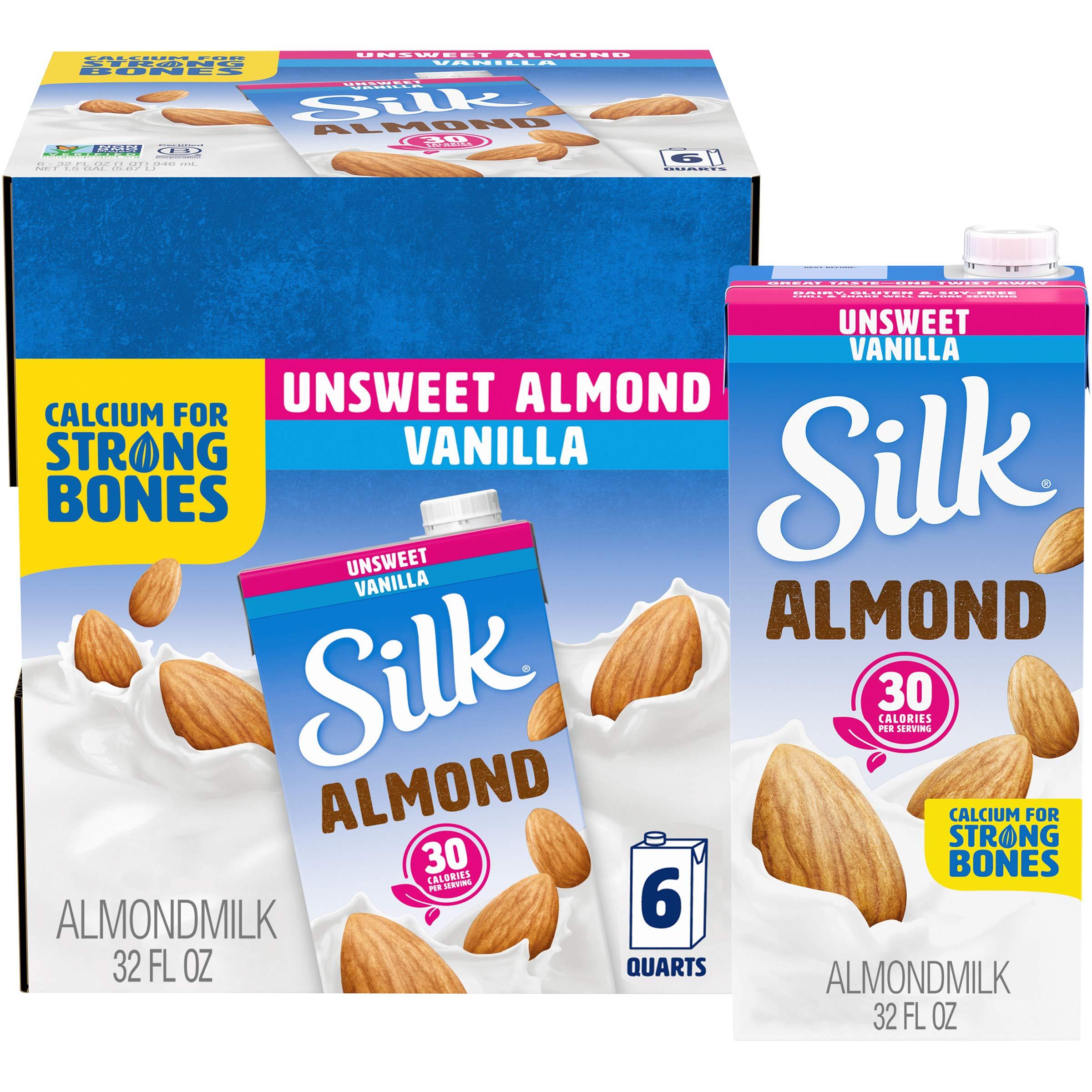 Silk Almond Milk, Unsweetened Vanilla, 32 Fluid Ounce (Pack of 6), Vanilla Flavored Non-Dairy Almond Milk, Dairy-free Milk