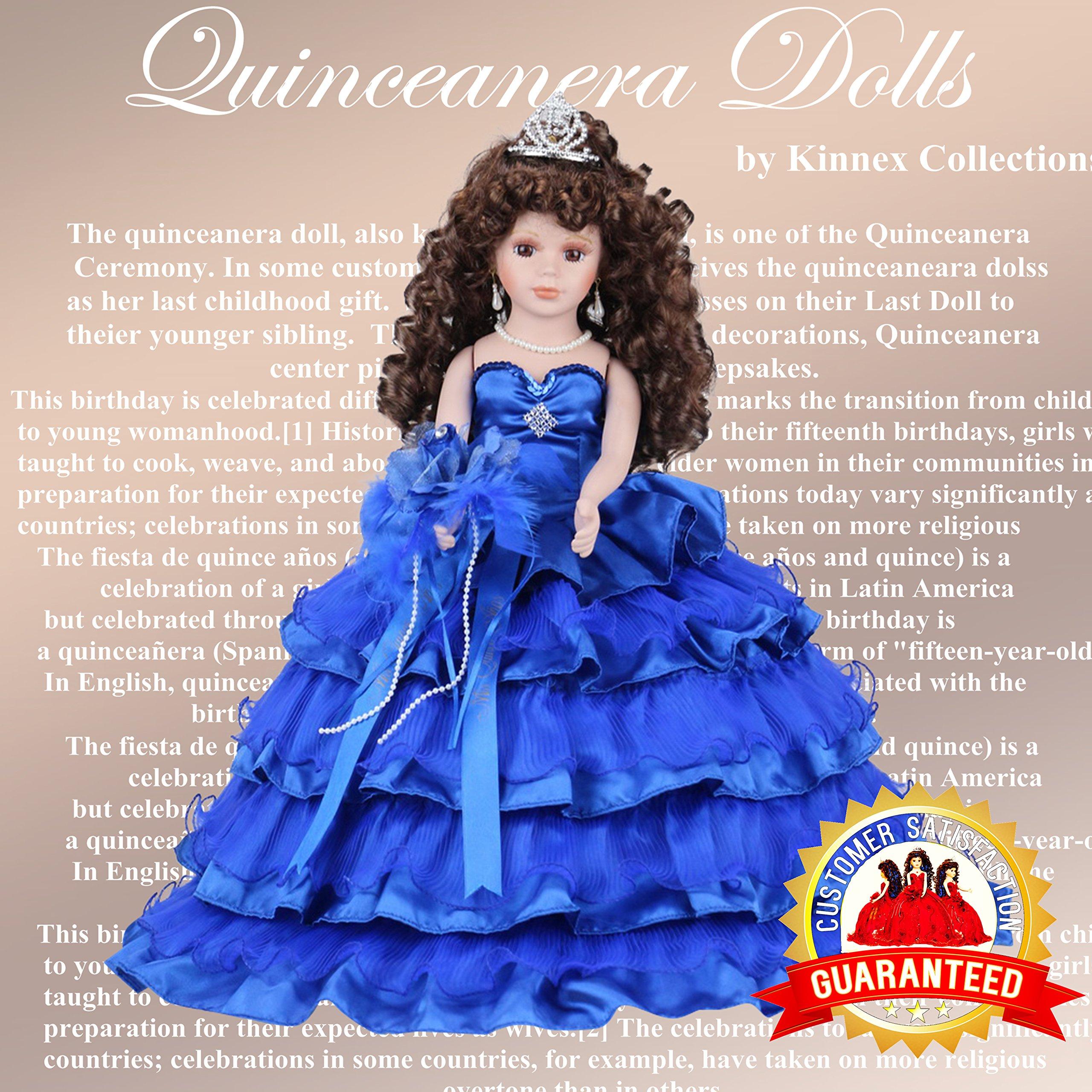 18'' Porcelain Quinceanera Umbrella Doll (Table Centerpiece) ~ Royal Blue ~ KK18729-15