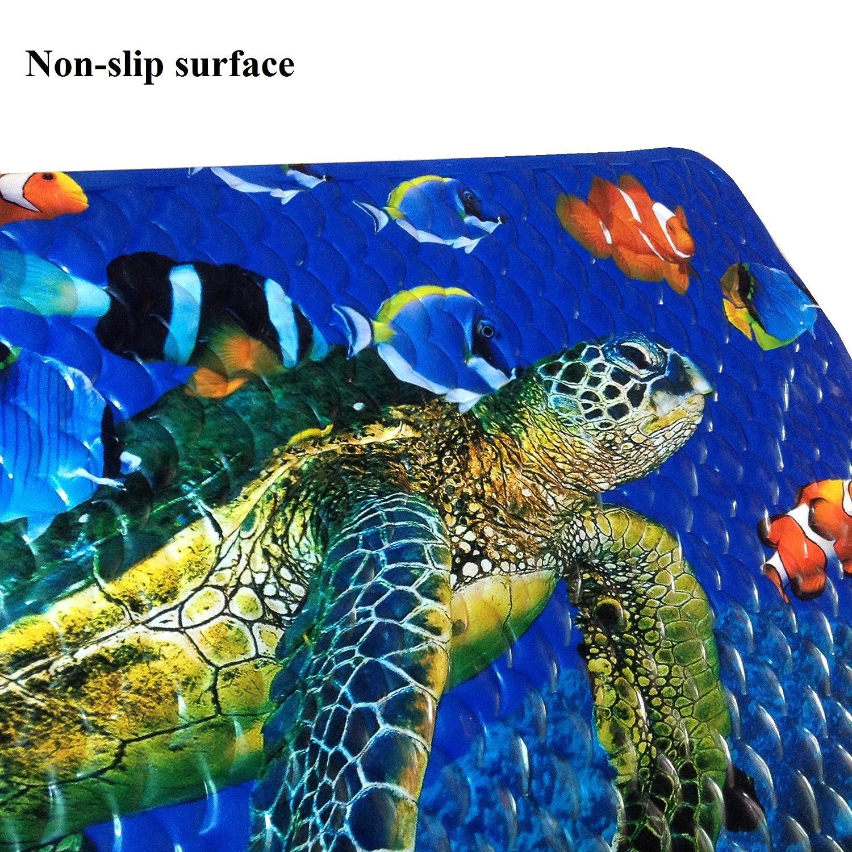 Dunns 70 cm x 40 cm Sicherheits-Badewannenmatte Anti-Rutschmatte f/ür Badewanne oder Dusche geeignet f/ür Kinder und Erwachsene Schildkr/öte und Fischhintergrund