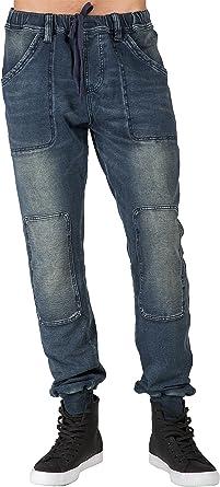 Level 7 Mens Premium Knit Denim Jogger Jeans Indigo Vintage Cargo Zipper Pockets