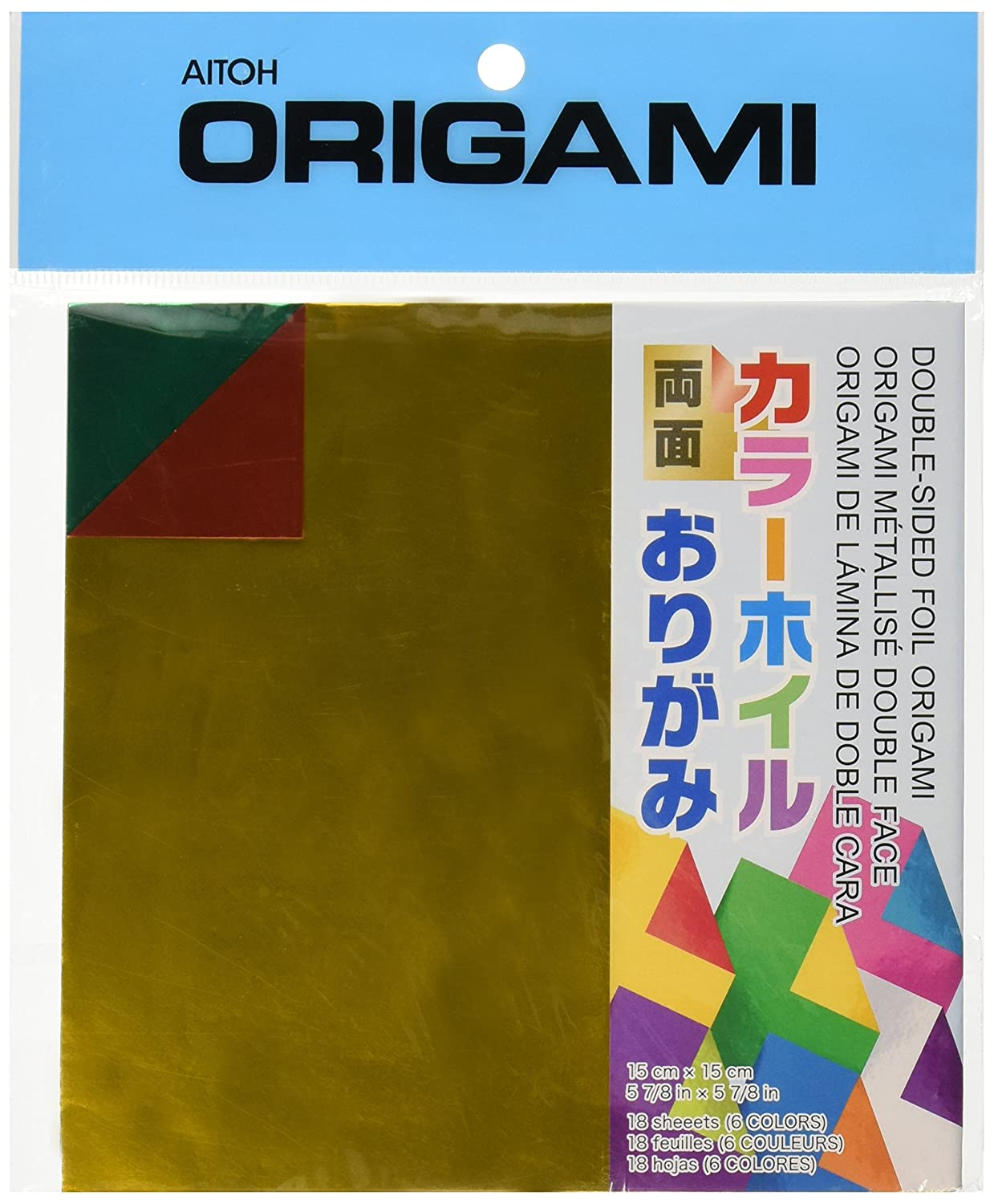 Aitoh DSF-2 Double-Sided Foil Origami Paper, 5.875-Inch by 5.875-Inch, 18-Pack