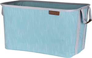 CleverMade Collapsible Fabric Laundry Basket - Durable Pop Up Storage Organizer with Handles - Space-SAVING XL Clothes Hamper with Sturdy Frame, Teal/Grey