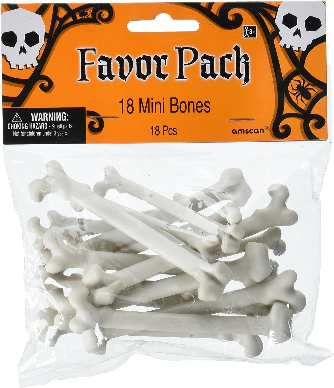 "amscan Mini Plastic Bone Halloween Decor,White,4"""