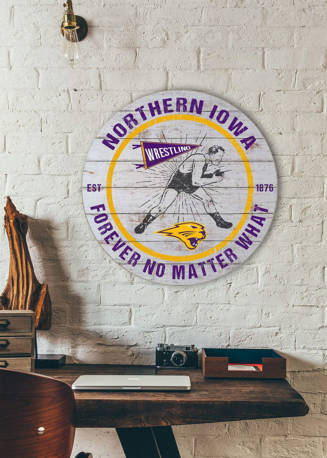 KH Sports Fan 20x20 Weathered Circle Throwback Northern Iowa Panthers Wrestling