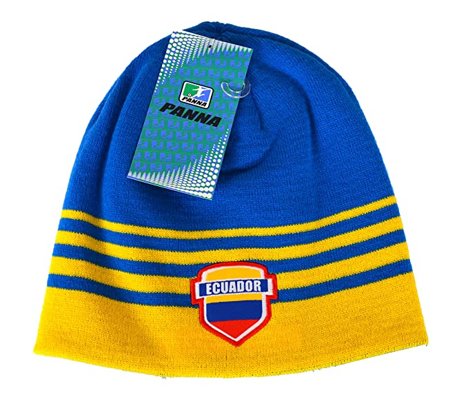 bf71167ed24 Ecuador Beanie Reversible Flag Soccer Cap hat Winter Fitted Knit Beanie ( Yellow)