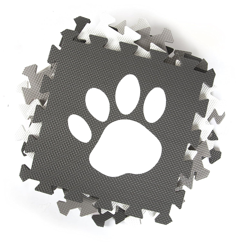 Tadpoles Soft Foam Playmat 16 Piece Set Pawprint Grey One-Size