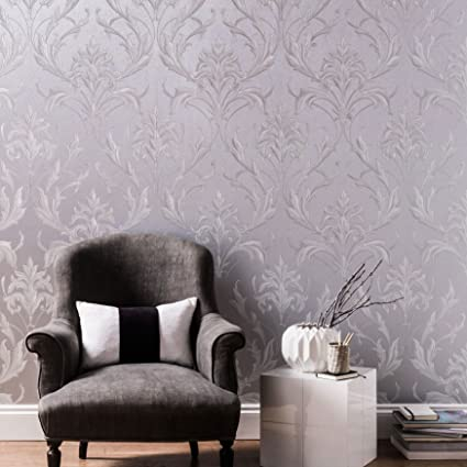 Graham Brown Oxford Damask Print Silver Grey Heavyweight Vinyl Wallpaper