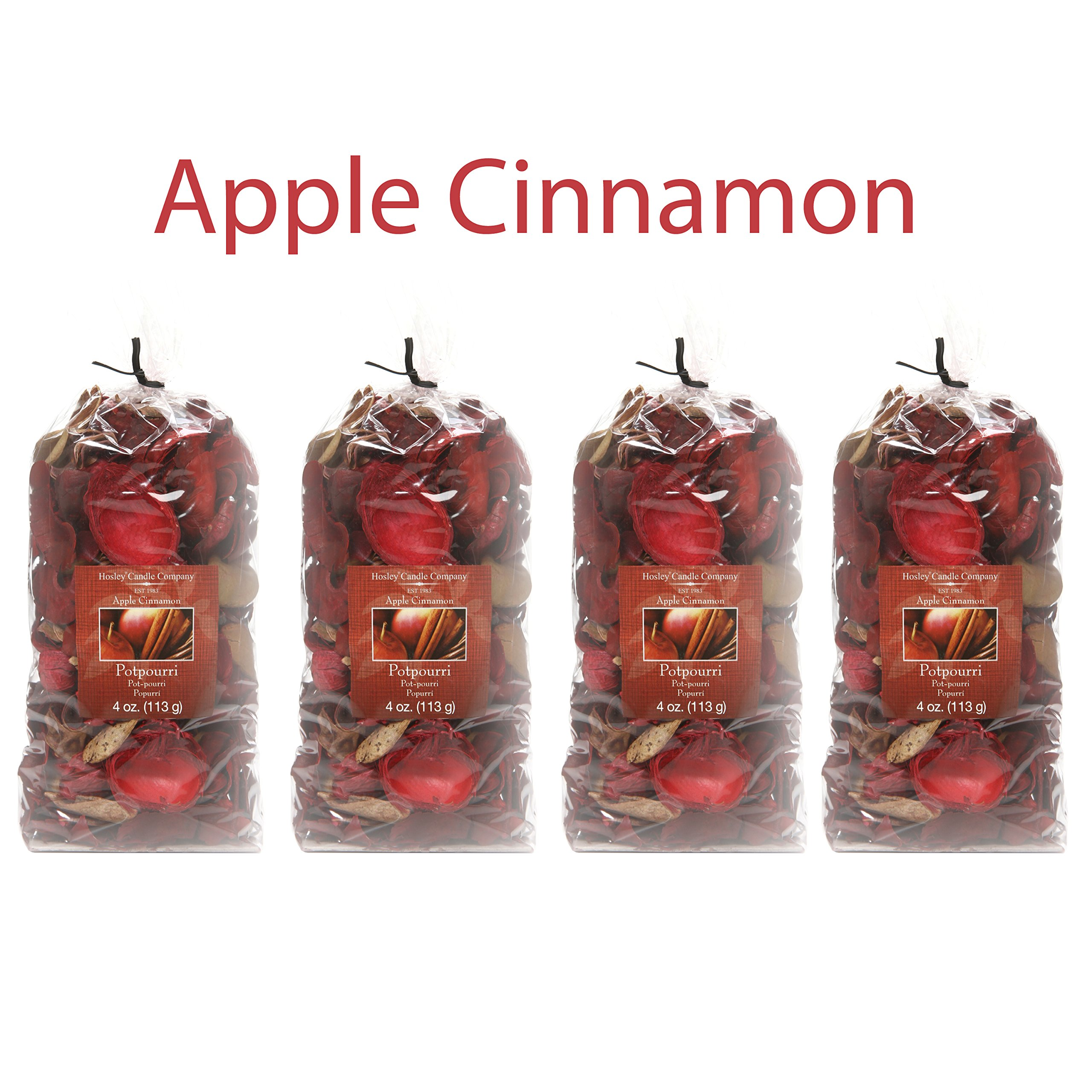 Hosley Apple Cinnamon Potpourri- 16 Oz. Bonus Buy 4 Bags/4 Oz Each. Ideal for dried floral arrangements or with Orbs, Potpourri or Just As Decor