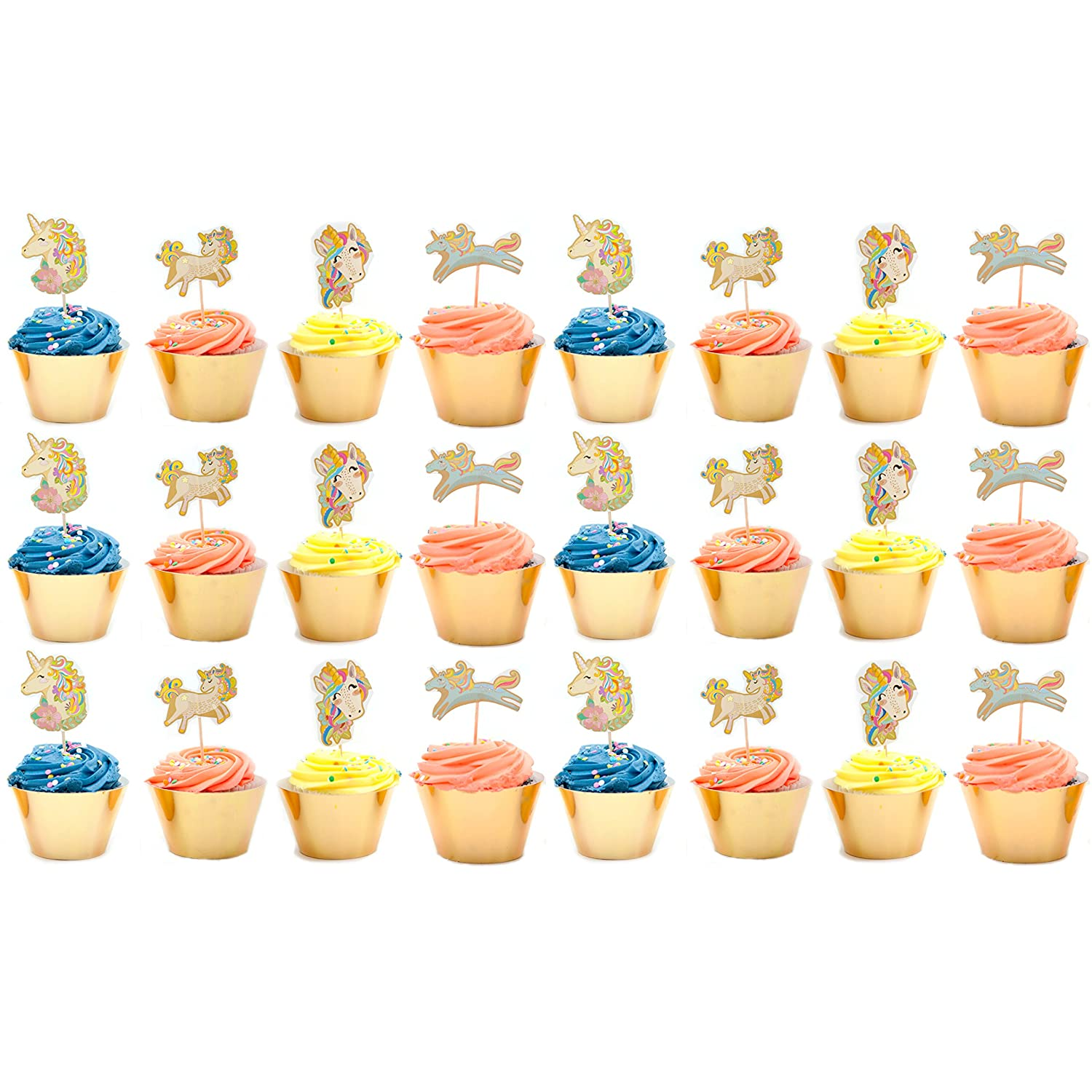 Lilly and the Bee Novelties Magical Unicorn Cupcake Party Pack for 24 Cupcakes