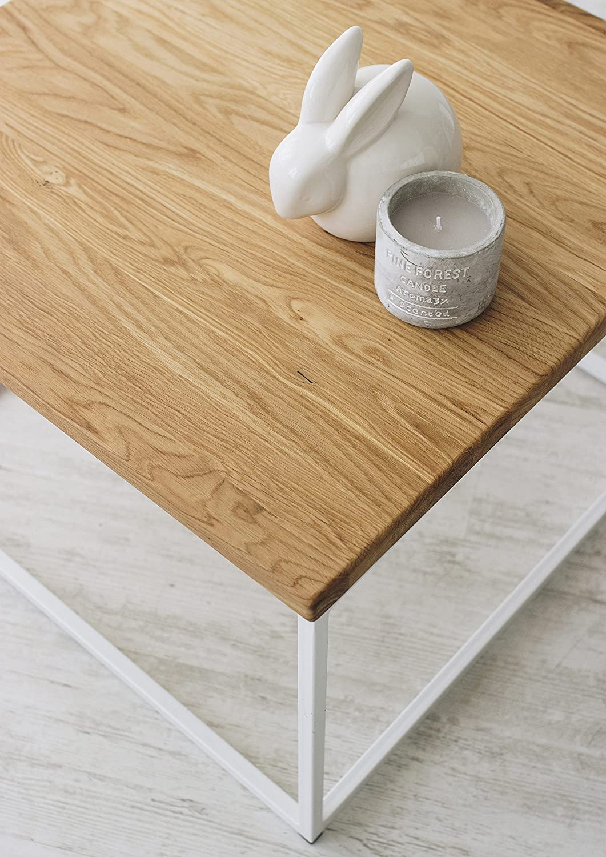 Das Original-BestLoft® Eiche Metall Couchtisch (Eiche Beistelltisch Industiedesign loft Vintage Sofatisch massiv Holz (Eiche Couchtisch dunkel + Gestell schwarz) 2bdee4
