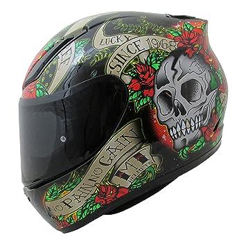 MT Venganza Cascos Integrales de Moto Motocicleta Bicicleta Calavera y Rosas Negro/Rojo S(
