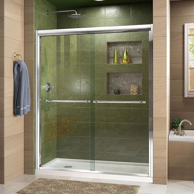 Dreamline Duet 34 In D X 60 In W Semi Frameless Bypass Shower Door