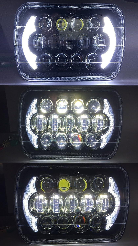 Esyauto Osram LED faros rectangulares 85W de 5X7 o 7x6 pulgadas luz de corretera luz de cruce Angel Eyes los Ojos del ángel DRL blanco faro de camión: ...