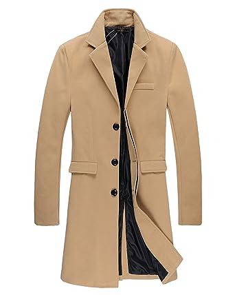 Herren Trench Coat Herbst Winter Lange Sakko Mantel  Amazon.de ... 9dae34c86b
