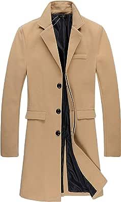 Benibos Mens Trench Coat Autumn Winter Long Jacket Overcoat