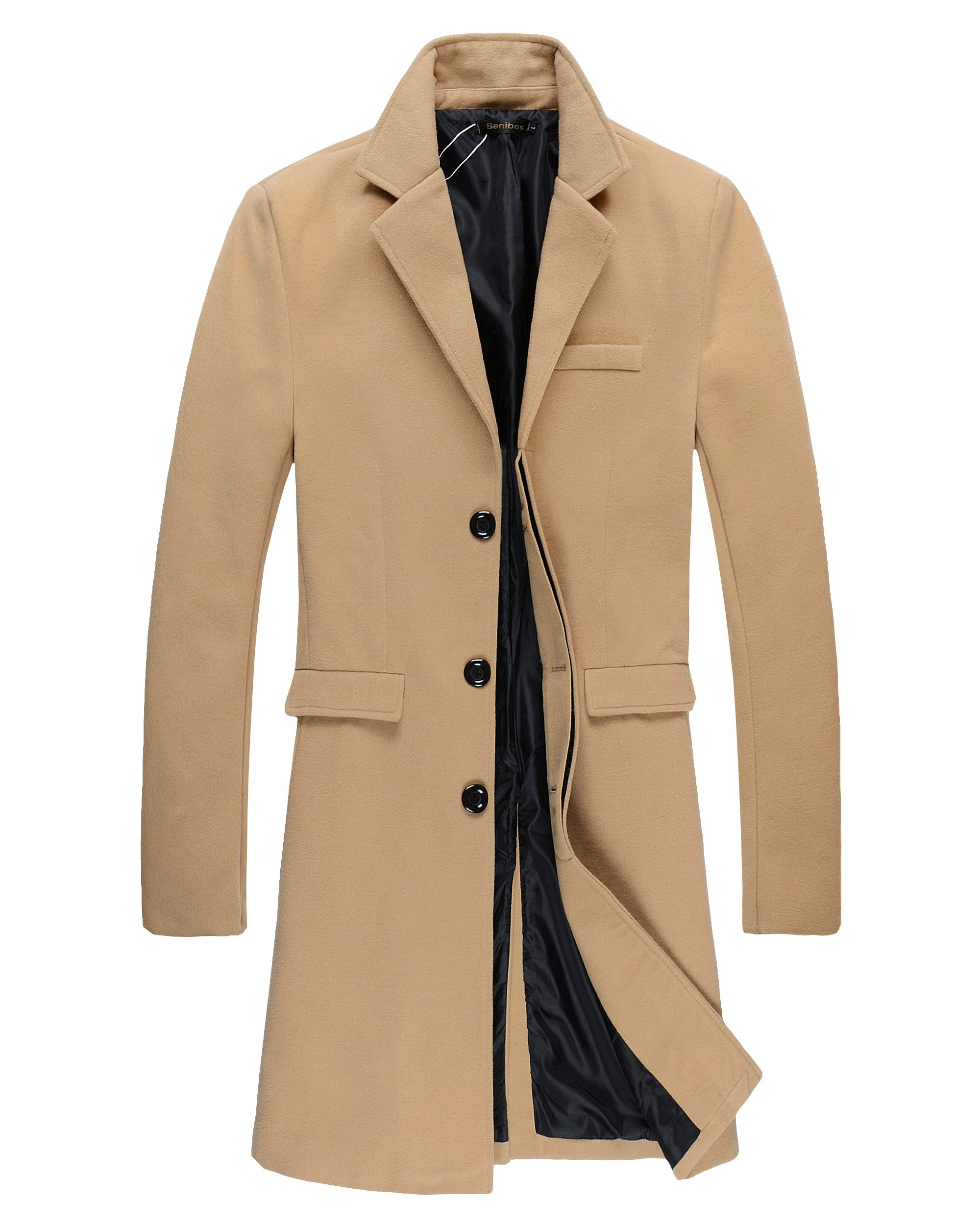 Benibos Mens Trench Coat Autumn Winter Long Jacket Overcoat(XL, 01Camel) by Benibos