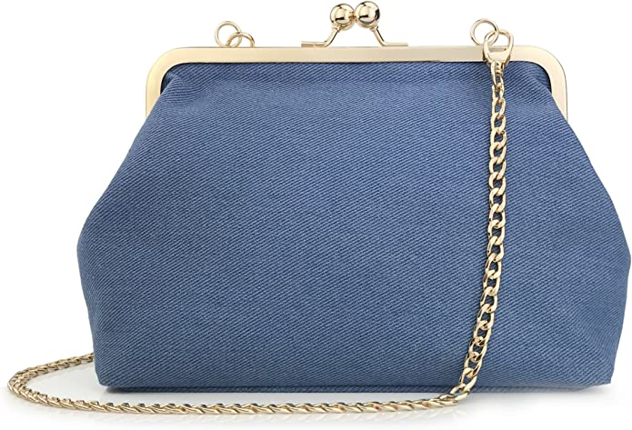 1950s Handbags, Purses, and Evening Bag Styles Hoxis Classical Kiss Lock Framed Clutch with Chain Starp Womens Shoulder Bag Purse Wallet $18.90 AT vintagedancer.com