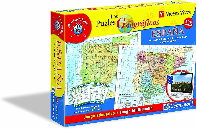 Clementoni - Puzzle Geografico España-Vicens Vives, 104 Piezas + Juego Webcam (65293.8): Amazon.es: Juguetes y juegos