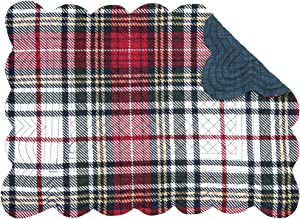 C&F Home Lennox Plaid Placemat Set of 6 Checkered Reversible Cotton Lodge Rustic Table Mat for Kitchen Dining Table Rectangular Placemat Set of 6 Red