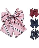 制服 リボン / 上質 大きめ ふんわり ボリューム / 紋章 ストライプ ピンク