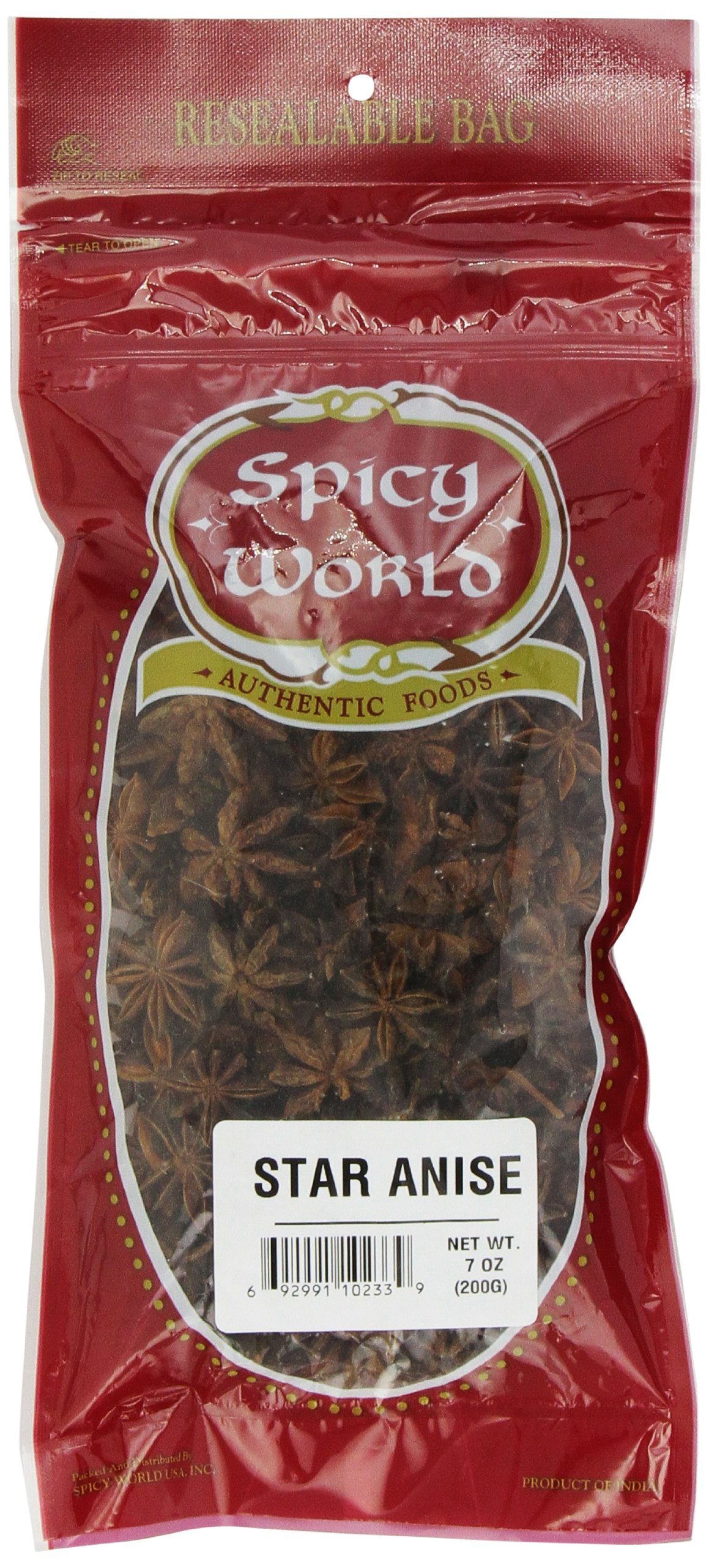 Spicy World Star Anise Whole, 7-Ounce Pouches (Pack of 4)