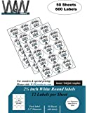 """2-1/2 inch Round Self Adhesive White Labels (50 Sheets/600 Labels) 2.5"""" Diameter - Comparable to 5294 size label stickers"""