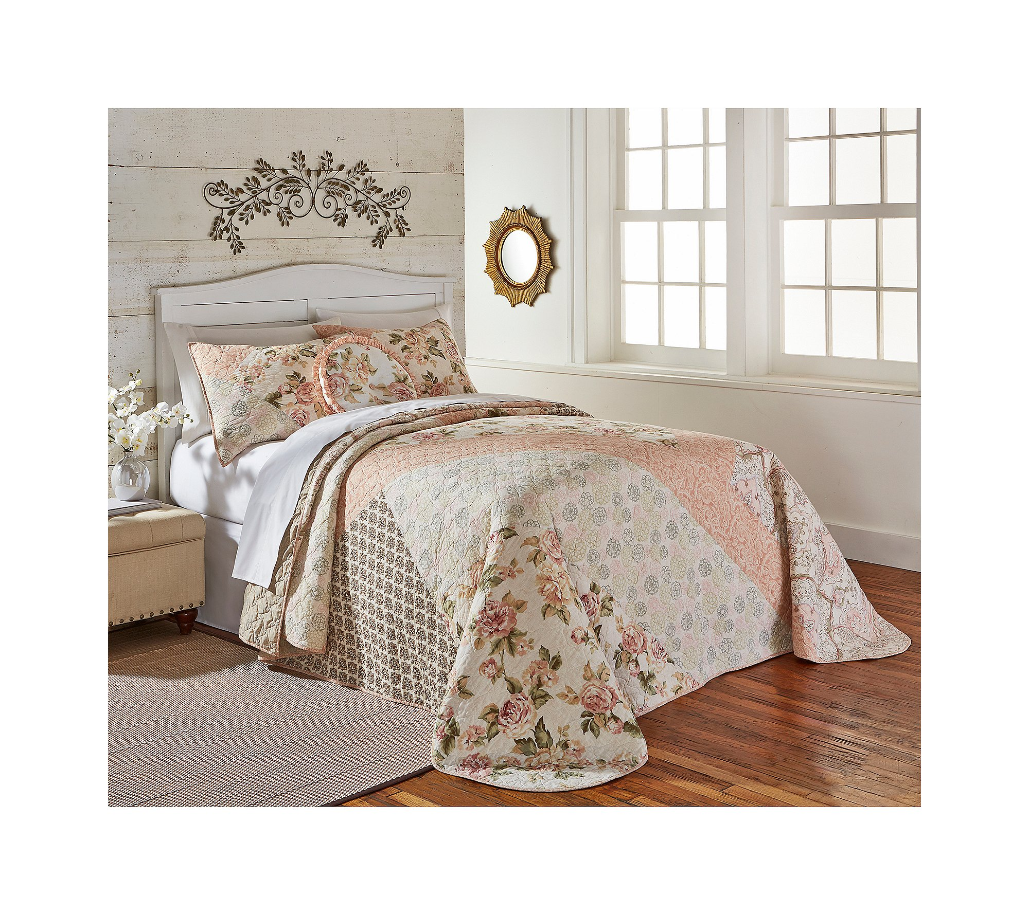 Living Quarters Rose And Lace Bed Spread Queen Bedpsread