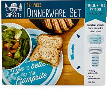 Life is Better at The Campsite Dishware Set 53294 Blue Tree and Truck Design Large Dinner Plates, 4 Bowls Includes Small Salad Plates and 4 4 Top Rack Dishwasher Safe